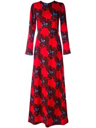Msgm Floral Pattern Longsleeved Dress Red