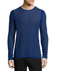Vince Thermal Knit Long Sleeve T Shirt Blue Women's