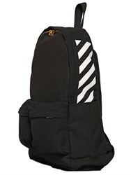 Off White Striped Cotton Canvas Backpack