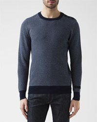 G Star Dadin Heather Blue Crew Neck Pullover With Shoulder Buttons