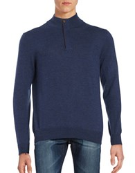 Black Brown Merino Wool Quarter Zip Sweater Deep Summer Navy Heather
