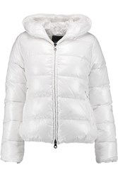 Duvetica Thiacinque Quilted Shell Down Hooded Coat White