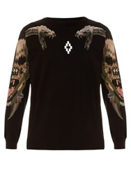 Marcelo Burlon Pontoetoe Snake Print Cotton Sweater Black Multi