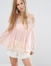 Kiss The Sky Cold Shoulder Swing Top With Lace Trims Peach Pink
