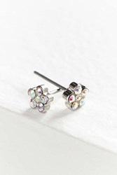 Urban Outfitters Mini Rhinestone Flower Post Earring White