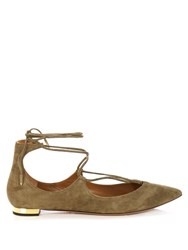 Aquazzura Christy Suede Flats Khaki