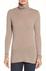 Halogenr Petite Women's Halogen Wool And Cashmere Funnel Neck Sweater Heather Cobblestone