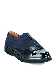 Donald J Pliner Cloud Patent Leather Slip Ons Navy Blue