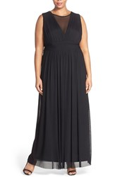 Plus Size Women's Marina Illusion V Neck Sleeveless Gown Black