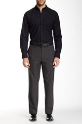 Louis Raphael Brushed Micro Houndstooth Tailored Modern Fit Pant Gray