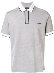 Z Zegna Contrast Piped Polo Shirt Grey