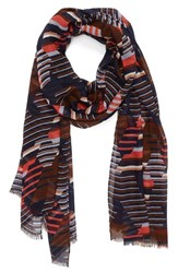 Women's Halogen 'Fractured Stripe' Modal And Silk Scarf Blue Navy Combo
