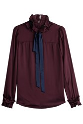 Paule Ka Silk Blouse With Ribbon Red