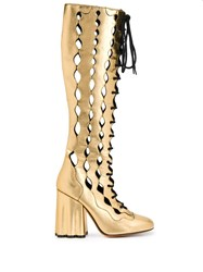 Marni Lace Up Knee Length Boots Gold
