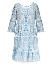 Athena Procopiou The Midsummer's Sky Silk Dress Blue White