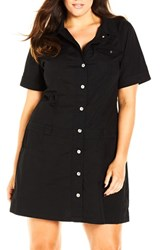 City Chic Plus Size Women's 'Adventure' Short Sleeve Stretch Cotton Shirtdress