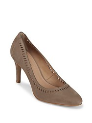 Saks Fifth Avenue Cutout Leather Pumps Taupe