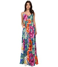 Mara Hoffman Rayon Tie Front Maxi Dress Blue Multi Women's Dress