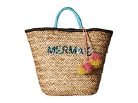 San Diego Hat Company Bsb1729 Seagrass Tote With Mermaid Embroidery With Pom Natural Tote Handbags Beige
