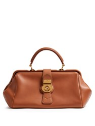 Burberry Trench Textured Leather Bowling Bag Tan
