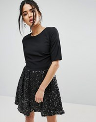 Little Mistress Skater Dress With Sparkle Skirt Black