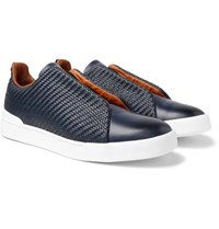 Ermenegildo Zegna Triple Stitch Pelle Tessuta Leather Slip On Sneakers Navy