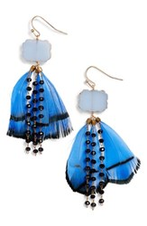 Serefina Feather And Bead Drop Earrings Blue