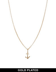 Asos Gold Plated Anchor Necklace