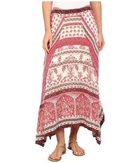 Dylan By True Grit Vista Canyon Mixed Chambray Print Gypsy Skirt Red Bleached Women's Skirt