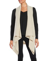 Lord And Taylor Cashmere Sleeveless Flyaway Cardigan Stone Heather