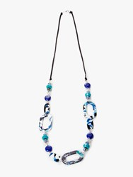 One Button Marble Geometric Shape Long Necklace Navy Multi