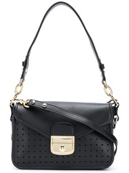 Longchamp Push Lock Shoulder Bag Black