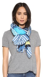 Yarnz Beachy Stripes Scarf Blue