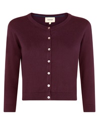 Havren Cropped Crew Neck Cardigan Purple