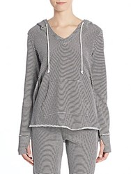 Saks Fifth Avenue Striped Hoodie Ivory Black