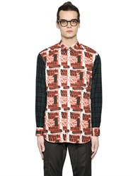 Comme Des Garcons Printed Poplin And Plaid Flannel Shirt