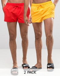 Asos Swim Shorts 2 Pack In Yellow And Red In Super Short Length Multi
