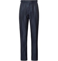 Zanella Midnight Blue Nico Tapered Pleated Virgin Wool And Linen Blend Trousers Midnight Blue