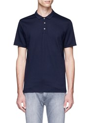 Topman Diamond Knit Polo Shirt Blue