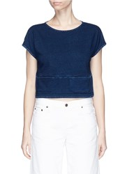 Ag Jeans 'Nio' Pocket Cropped Cotton T Shirt Blue