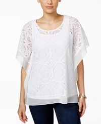 Jm Collection Crochet Chiffon Hem Poncho Top Only At Macy's Bright White