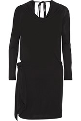Haute Hippie Draped Modal Jersey Mini Dress Black