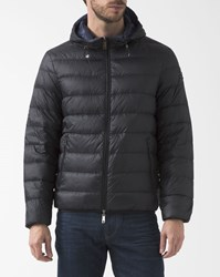 Armani Jeans Navy Blue And Black Reversible 3M Down Jacket With Hood
