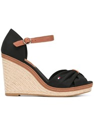 Tommy Hilfiger Crossed Front Wedge Sandals Women Leather Tactel Rubber 36 Black