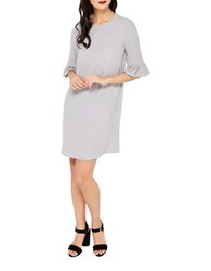 Miss Selfridge Flute Sleeve Shift Dress Grey