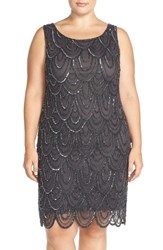 Plus Size Women's Pisarro Nights Beaded Sheath Dress Slate