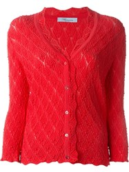 Blumarine Pointelle Knit Cardigan Pink And Purple