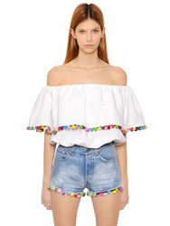 Forte Couture Off Shoulder Cotton Toile Top W Pompoms