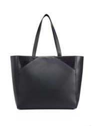 Khirma New York Christi Leather And Snakeskin Tote Black