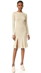 Cedric Charlier Long Sleeve Dress Gold
